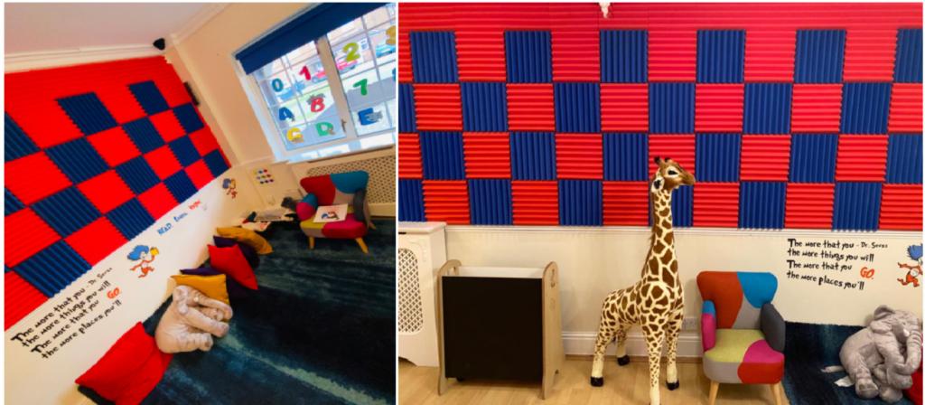Reading Corner & the Giraffe is our Mascot